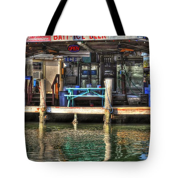 Bait Ice  Beer Shop On Bay Tote Bag by Dan Friend