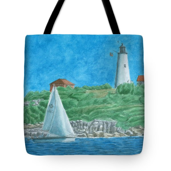 Bakers Island Lighthouse Tote Bag by Dominic White