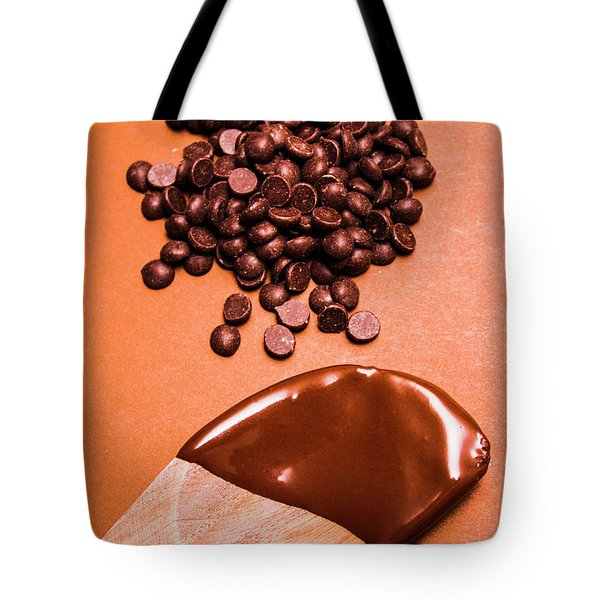 Baking Scene Of Spoon Covered With Chocolate Tote Bag