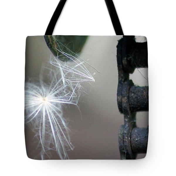 Balance, Feather And Iron Chain In The Wind Tote Bag