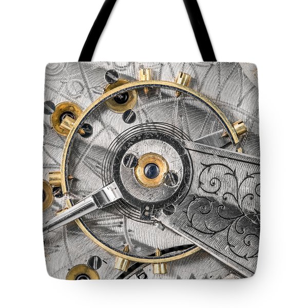 Balance Wheel Of An Antique Pocketwatch Tote Bag by Jim Hughes