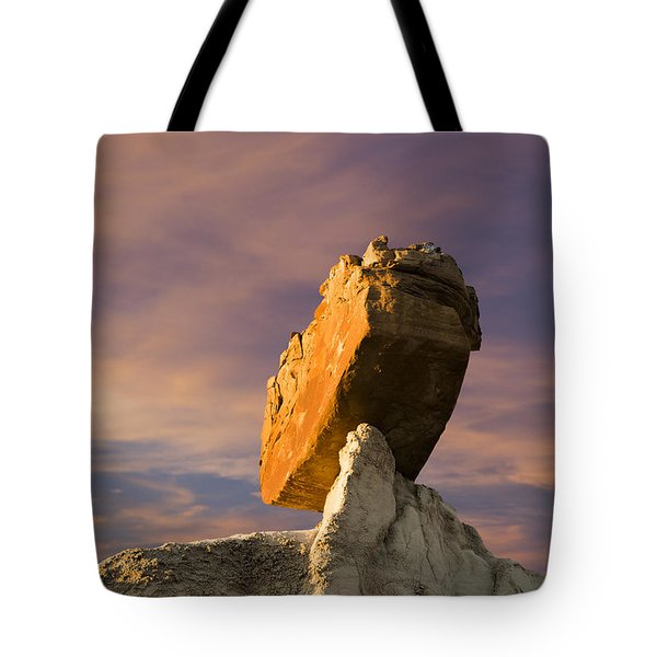 Tote Bag featuring the photograph Balanced Bus Rock At The Burnham Badlands by Keith Kapple
