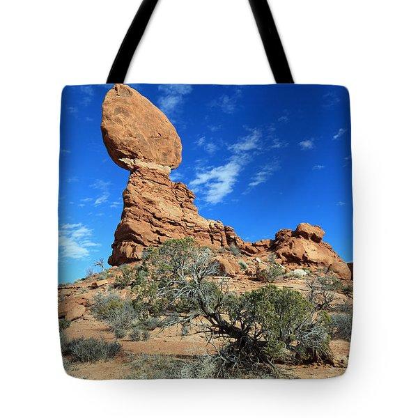 Balanced Rock And Desert Tree Tote Bag