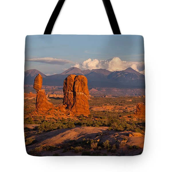 Balanced Rock And Summer Clouds At Sunset Tote Bag