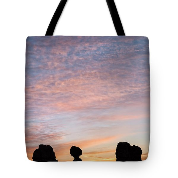 Balanced Rock At Sunrise Tote Bag