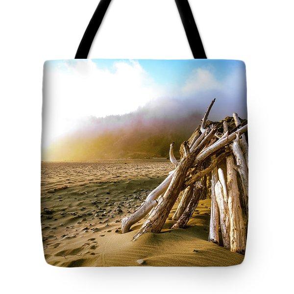 Balancing Act Beach Image Art Tote Bag