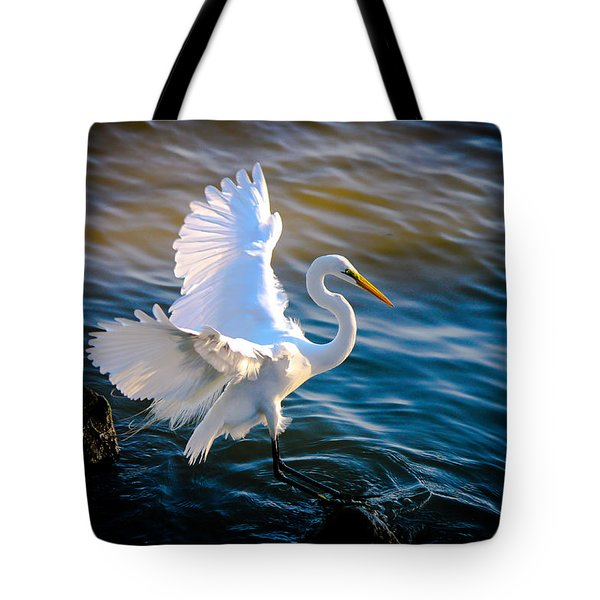 Balancing Act  Great White Egret  Tote Bag