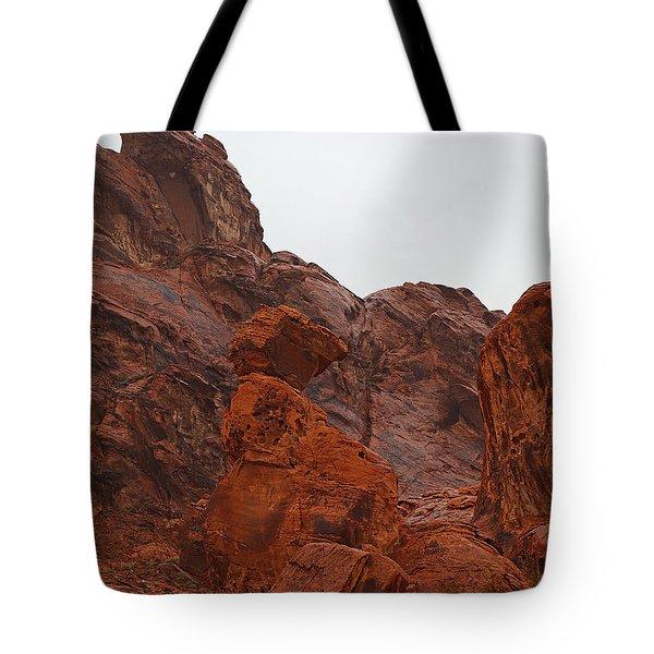 Balancing Rock In December Tote Bag