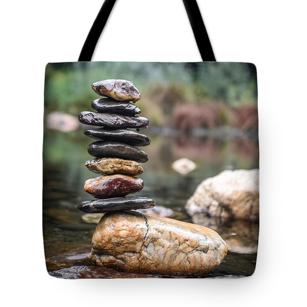 Balancing Zen Stones In Countryside River I Tote Bag