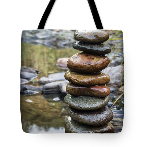 Balancing Zen Stones In Countryside River Vii Tote Bag