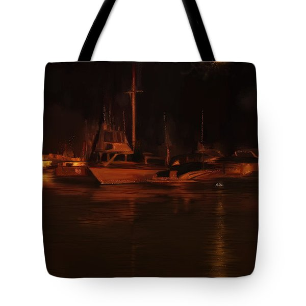 Balboa Island Newport Bay Night Tote Bag by Angela A Stanton