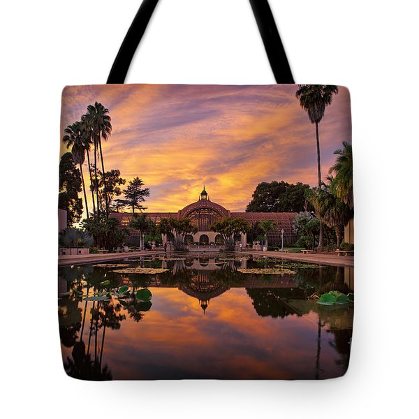 Balboa Park Botanical Building Sunset Tote Bag