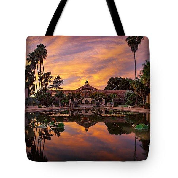 Balboa Park Botanical Building Sunset Tote Bag by Sam Antonio Photography