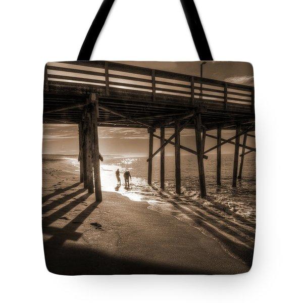 Balboa Pier Fishermen Tote Bag