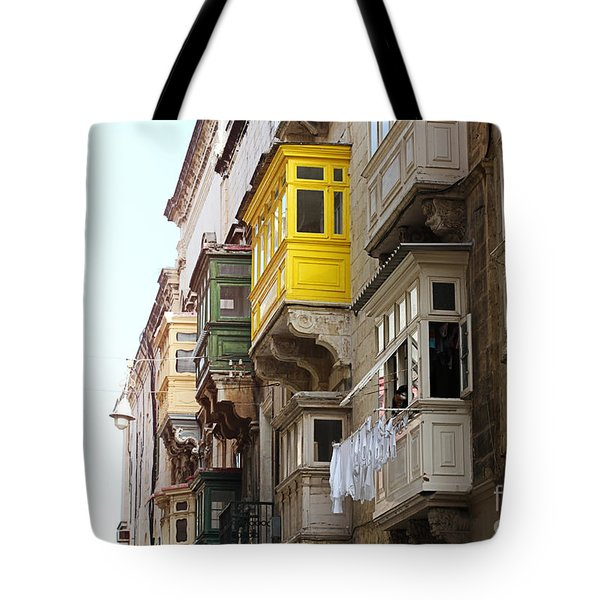 Balconies Of Valletta 1 Tote Bag