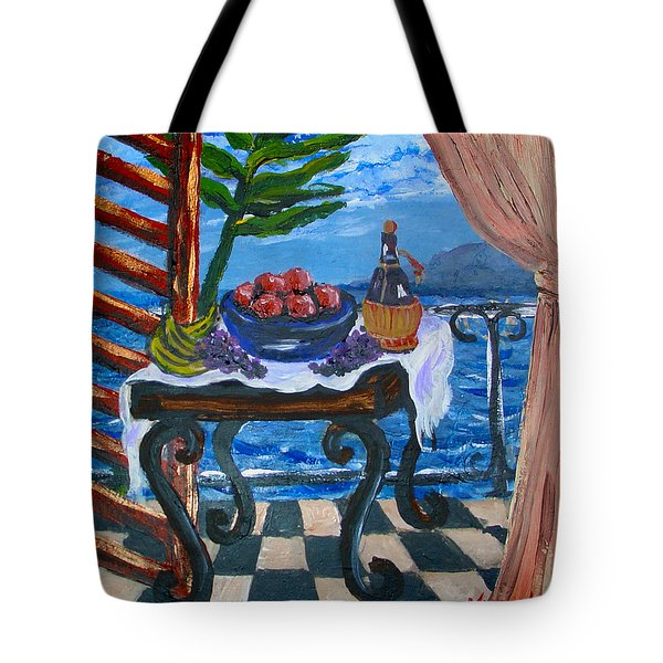 Balcony By The Mediterranean Sea Tote Bag by Karon Melillo DeVega