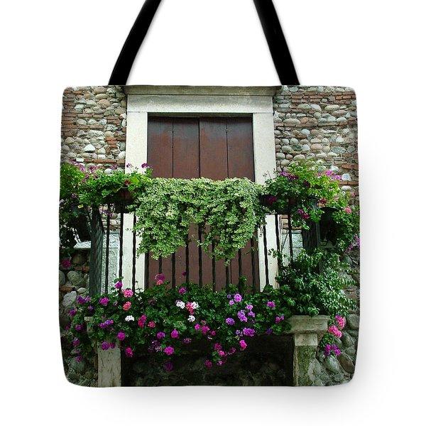 Balcony On Pebbled Wall Tote Bag