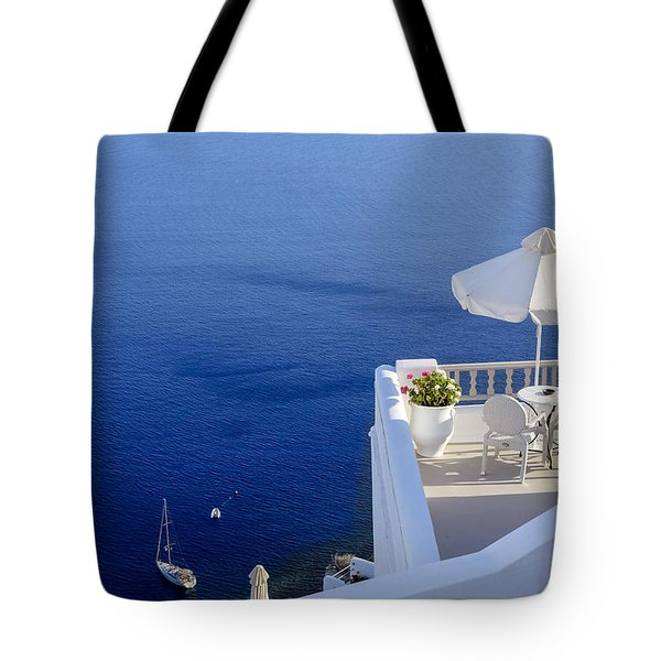Balcony Over The Sea Tote Bag