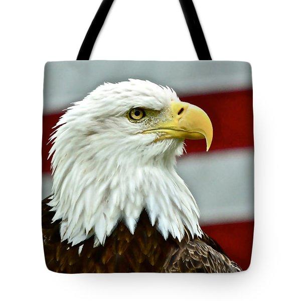 Bald Eagle And Old Glory Tote Bag