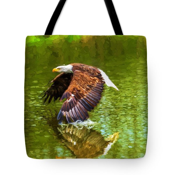 Bald Eagle Cutting The Water Tote Bag