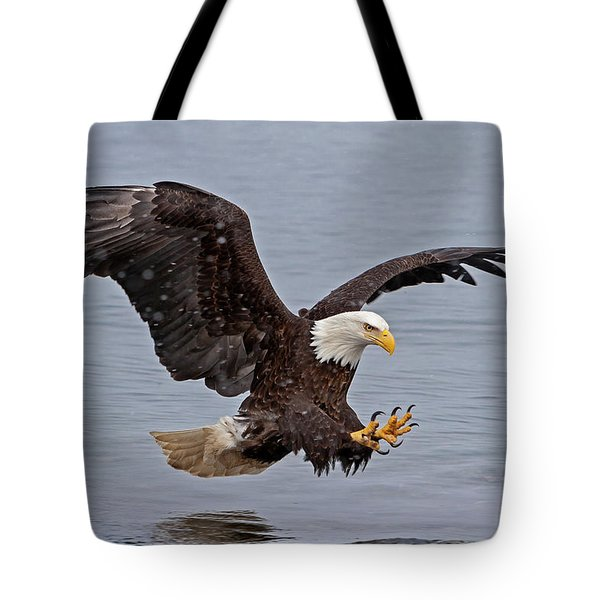 Bald Eagle Diving For Fish In Falling Snow Tote Bag