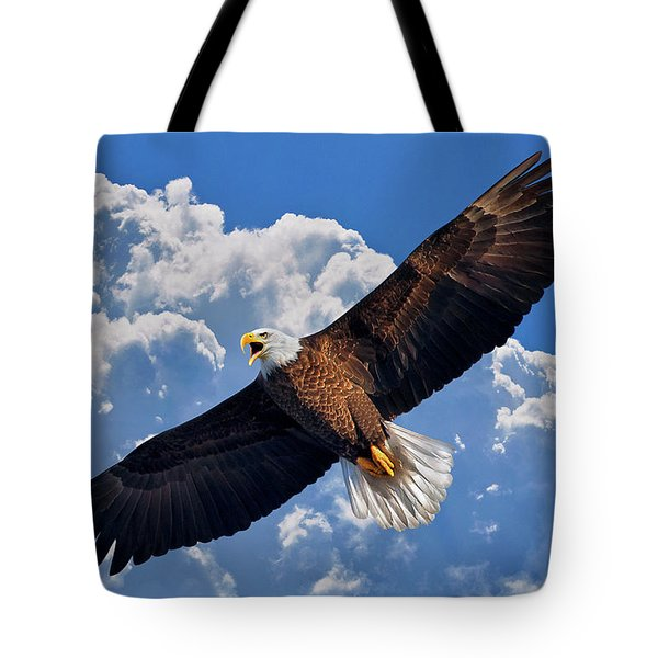 Tote Bag featuring the photograph Bald Eagle In Flight Calling Out by Justin Kelefas