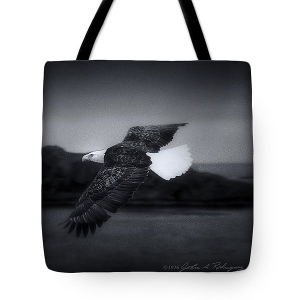 Tote Bag featuring the photograph Bald Eagle In Flight by John A Rodriguez