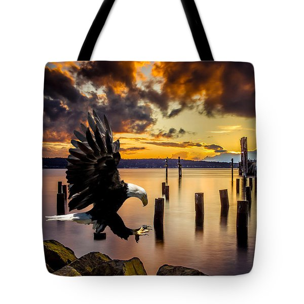 Bald Eagle Landing At Beach As Sun Sets Tote Bag