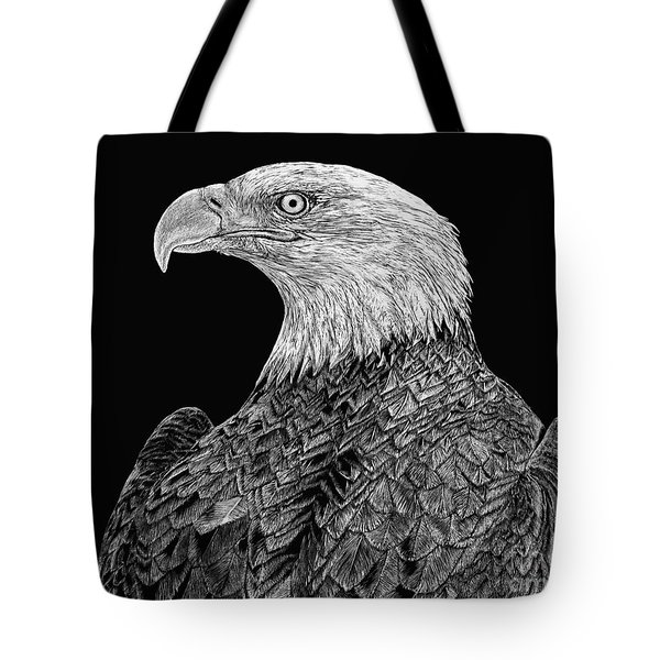 Bald Eagle Scratchboard Tote Bag