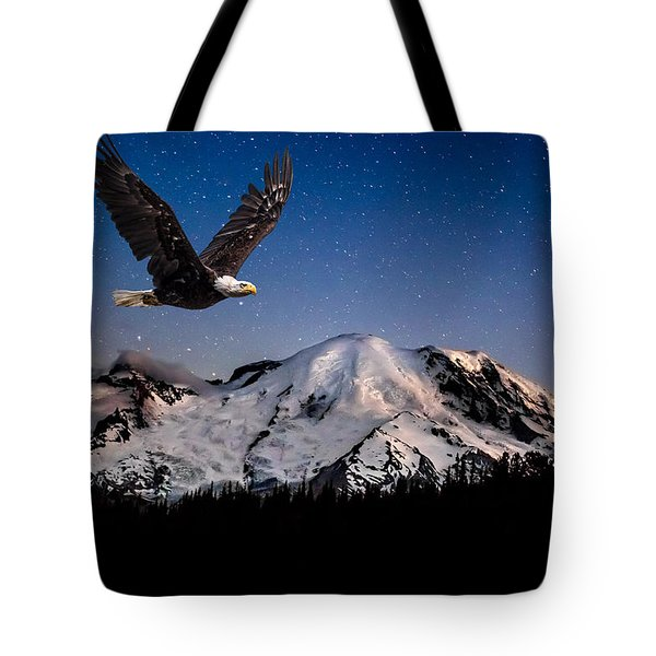 Bald Eagle Soaring By Mt Rainier Under Stars Tote Bag
