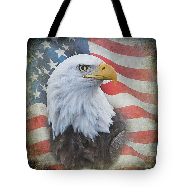 Tote Bag featuring the photograph Bald Eagle With American Flag by Angie Vogel