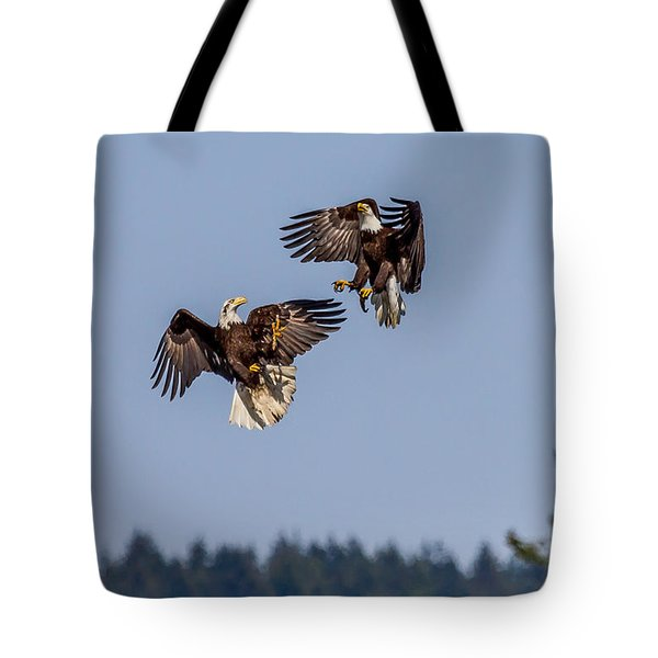 Bald Eagles Battle In Flight Tote Bag
