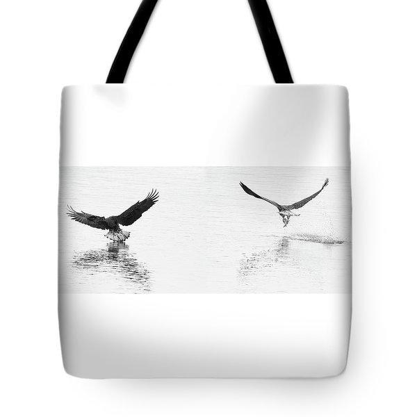 Bald Eagles Fishing Tote Bag