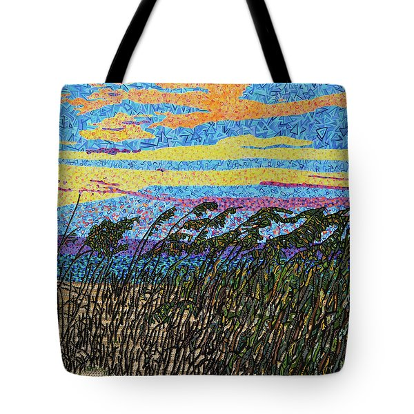 Bald Head Island, Sea Oat Sunset Tote Bag by Micah Mullen