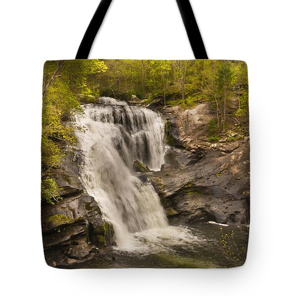 Tote Bag featuring the photograph Bald River Falls Spring by Rebecca Hiatt