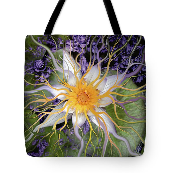 Tote Bag featuring the painting Bali Dream Flower by Christopher Beikmann