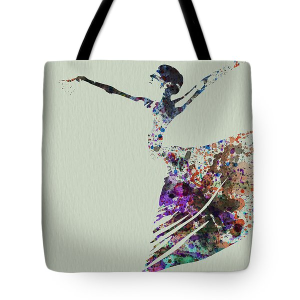 Ballerina Dancing Watercolor Tote Bag by Naxart Studio