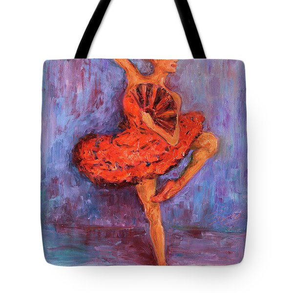 Tote Bag featuring the painting Ballerina Dancing With A Fan by Xueling Zou