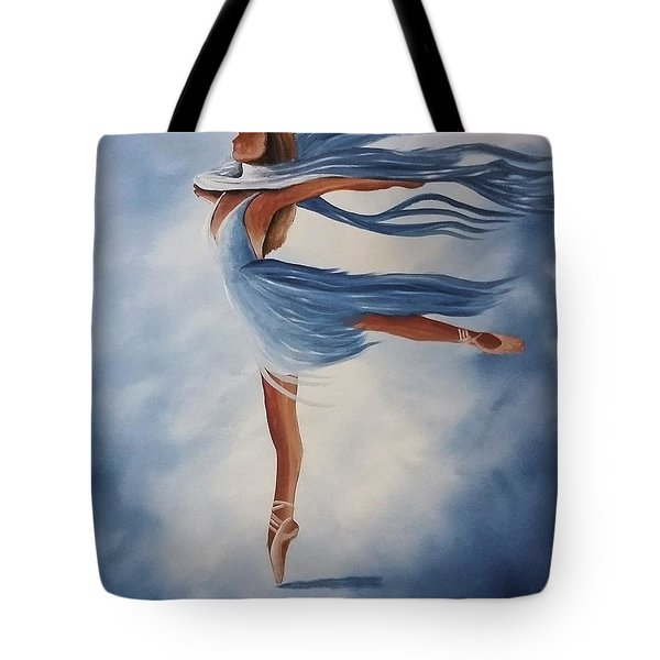 Tote Bag featuring the painting Ballerina by Edwin Alverio