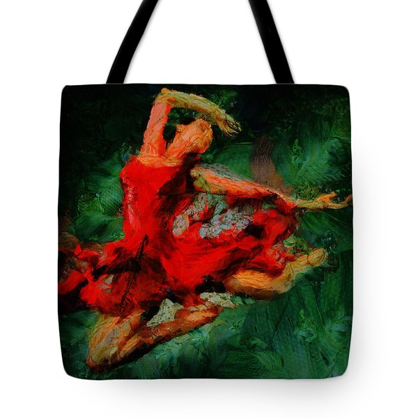 Tote Bag featuring the painting Ballerina Girl -  Love Is Seduction  by Sir Josef - Social Critic - ART