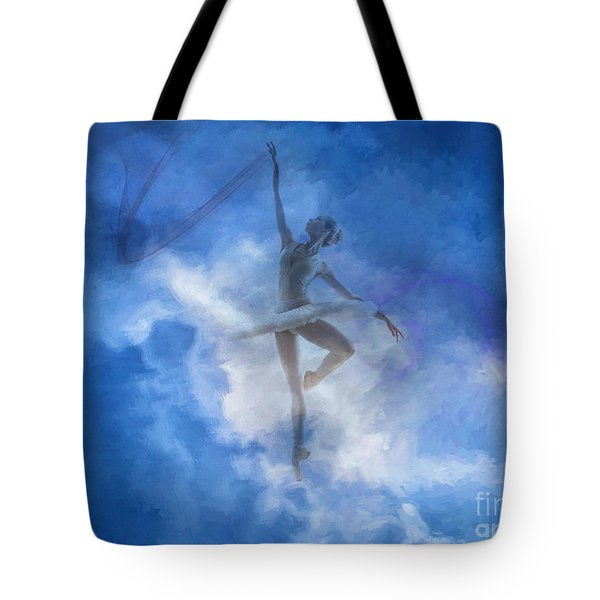 Ballerina In The Clouds Tote Bag