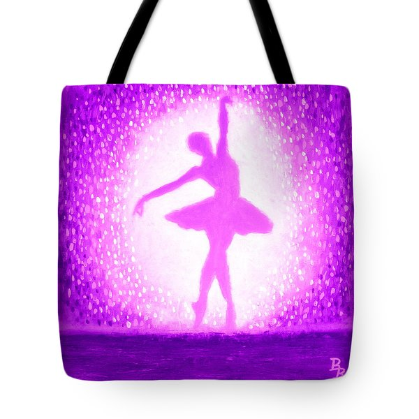 Tote Bag featuring the painting Ballerina Purple And Pink by Bob Baker