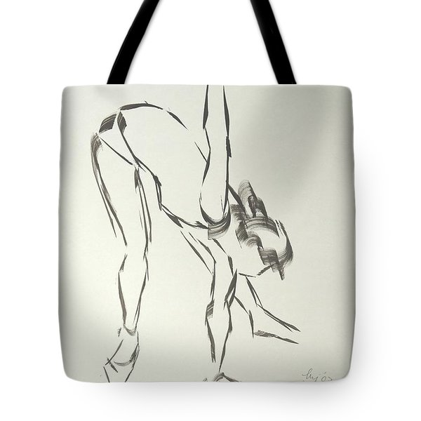 Ballet Dancer Bending And Stretching Tote Bag