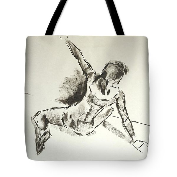 Ballet Dancer Sitting On Floor With Weight On Her Right Arm Tote Bag