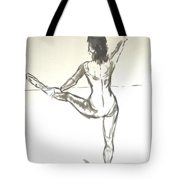 Ballet Dancer With Left Leg On Bar Tote Bag