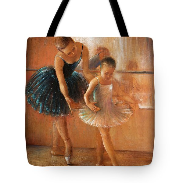 ballet lesson-painting on leather by Vali Irina Ciobanu  Tote Bag