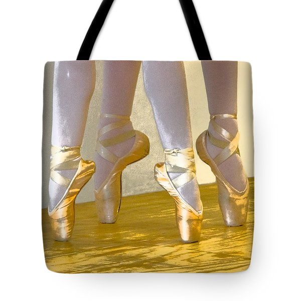 Ballet Second Position In Gold Tote Bag