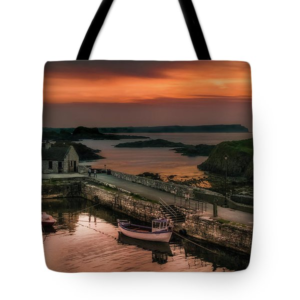 Ballintoy Harbour Sunset Tote Bag