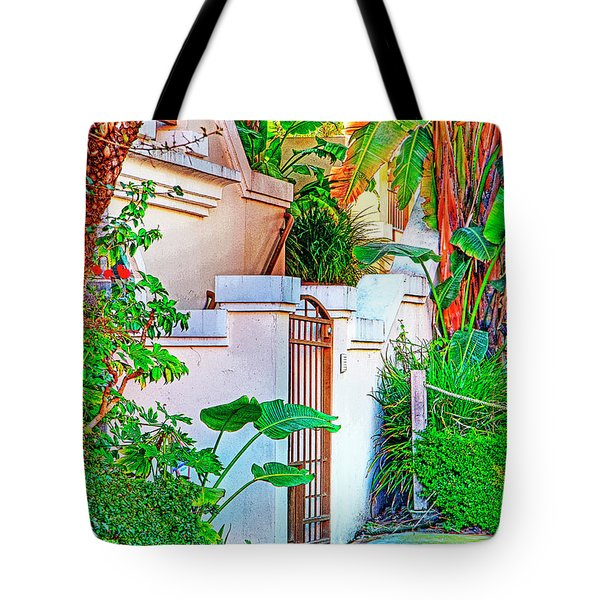 Tote Bag featuring the photograph Ballona Lagoon Gate by Chuck Staley