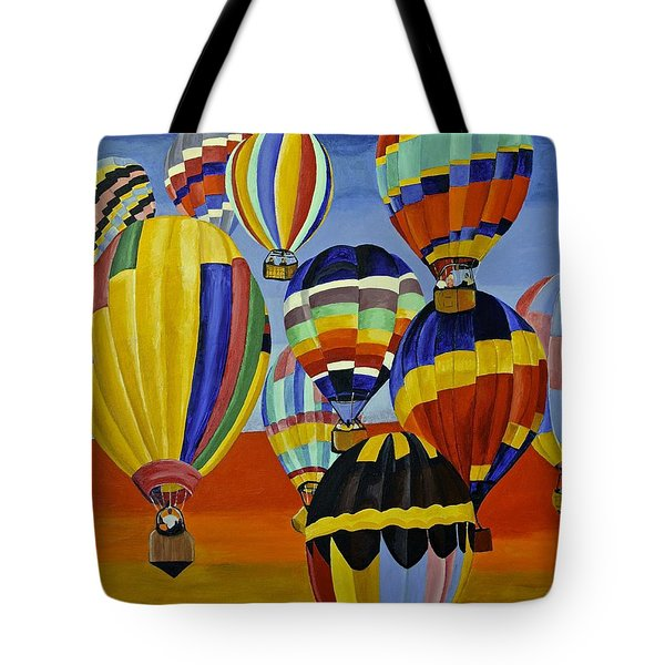Tote Bag featuring the painting Balloon Expedition by Donna Blossom